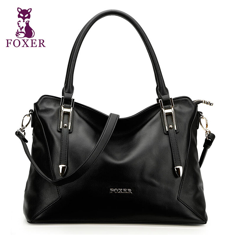 2016 FOXER brand women genuine leather bag fashion large capacity top quality women handbags shoulder messenger cowhide tote bag foxer famous brand fashion women bag top quality genuine leather handbags women totes floral zipper women messenger bags