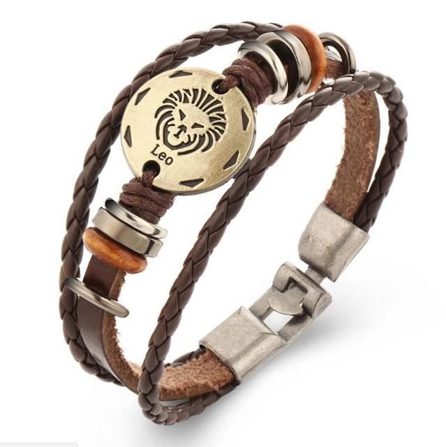 Fashion Bronze Alloy Buckles 12 Constellations Signs Casual Personality Punk Leather Bracelet For Men Charm Jewelry XY-B247