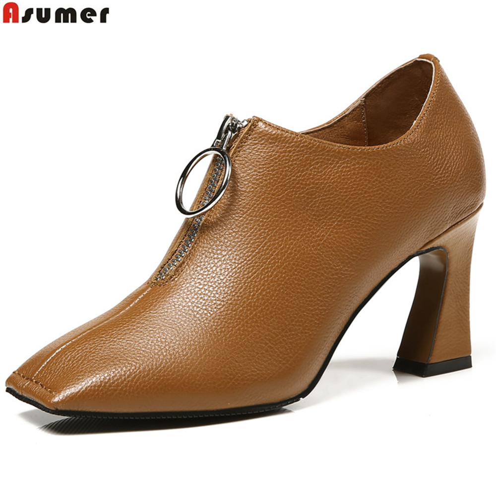 ASUMER black brown fashion spring autumn shoes woman square toe zip dress shoes women genuine leather high heels shoes asumer beige pink fashion spring autumn shoes woman square toe casual single shoes square heel women high heels shoes