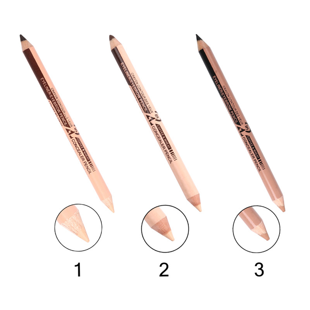 1Pcs New Double Headed Eyeliner Pencil Concealer Pen 3 Colors Best Waterproof Long Lasting Eye Beauty Makeup Tools TSLM1