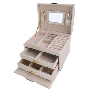 Image 3 - U7 Women Jewelry Storage Organizer Drawers Box Travel Makeup Cosmetic Case & Mirror Leather Wedding Decoration Gift For Her OB05