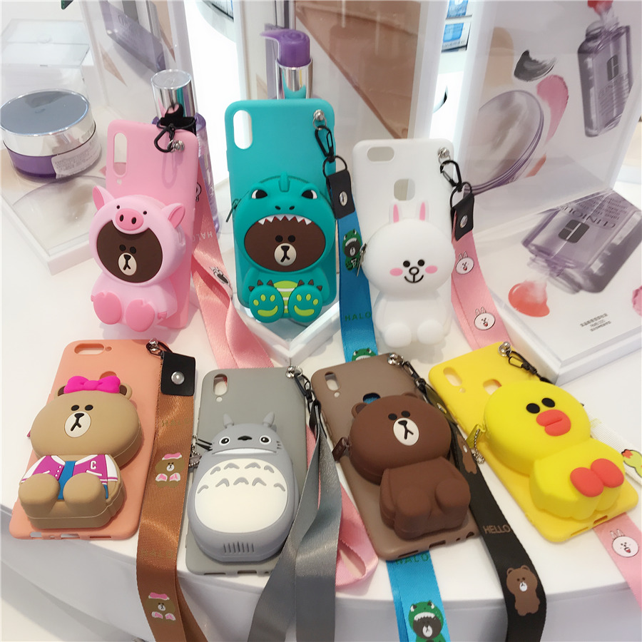 Cartoon Zipper <font><b>Wallet</b></font> Phone <font><b>Case</b></font> for <font><b>iPhone</b></font> 5 <font><b>5s</b></font> 6 6s Plus 7 8 Plus X XR XS 11 Pro Max Soft Silicone Coin <font><b>Wallet</b></font> Purse Bag Cover image