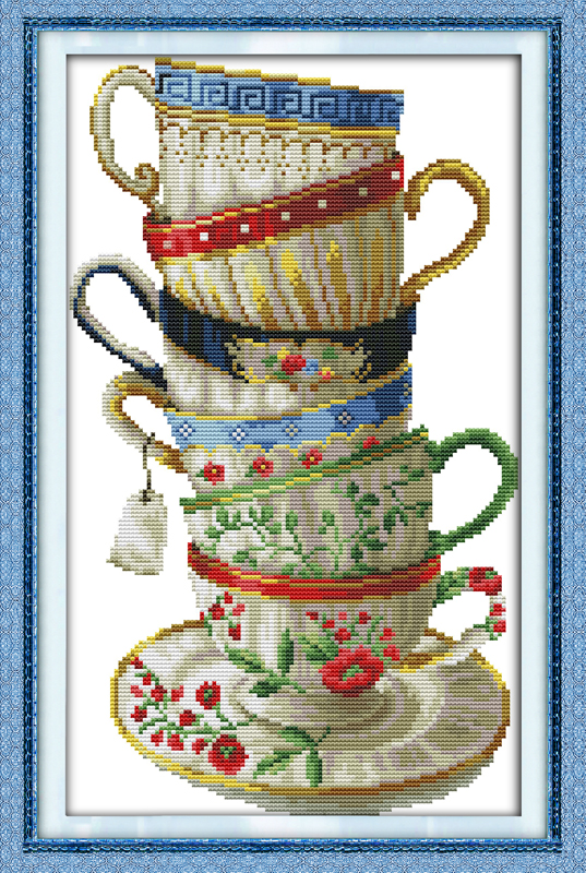 Elegante taza de café, impresa en tela DMC 14CT 11CT Kits de punto de cruz, bordados Conjuntos, nieve Decoración para el hogar