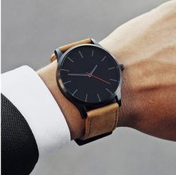 men's watch 2019 Unisex Fashion Leather Band Analog Quartz Men's Wrist Watch Clock Minimalist watch montre homme erkek kol saati