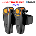 2 pcs Waterproof Motorcycle Moto Wireless Bluetooth Helmet Intercom Interphone Headset with FM Radio Helmet Headset for Rider