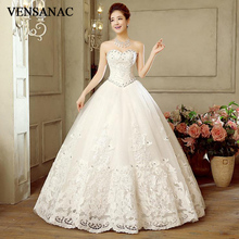 VENSANAC Sequined Off The Shoulder Ball Gown Lace Appliques Wedding Dresses 2018 Crystal Strapless Backless Bridal Gowns цена и фото