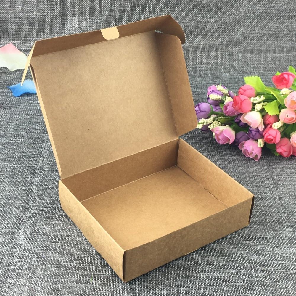 12pcs/lot Brown Cardboard Gift Box,white Package Paper Carton Box Kraft Paper Handmade Soap Packaging Craft Box Folding
