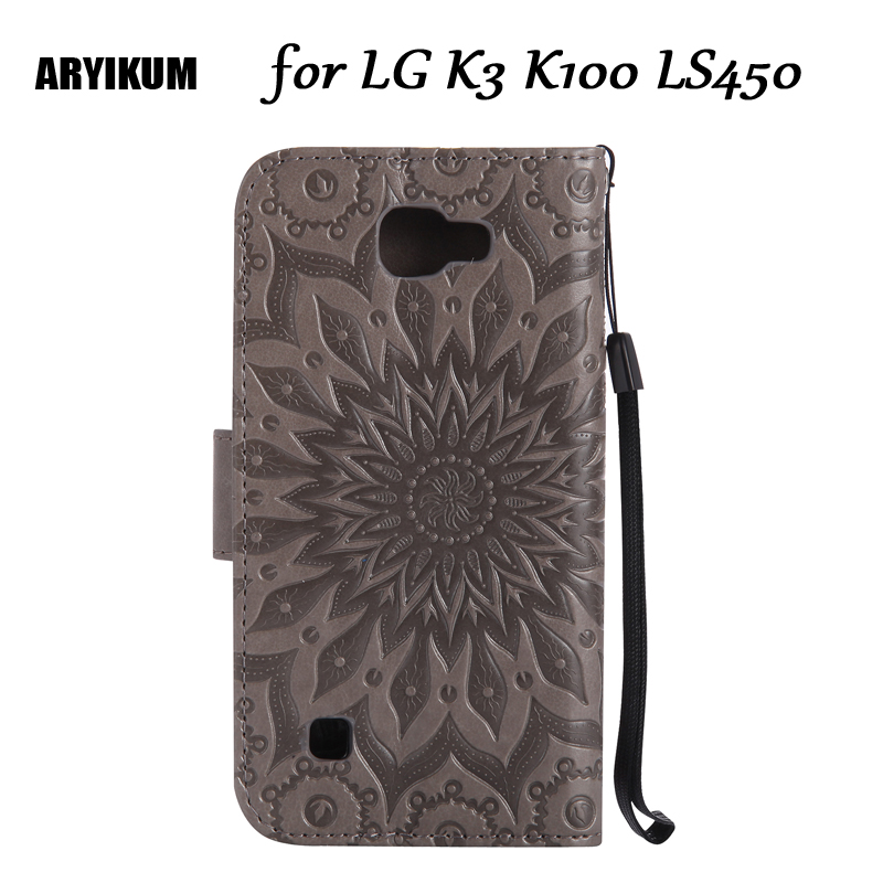 For <font><b>LG</b></font> K3 <font><b>K100</b></font> LS450 Embossed Sunflower Wallet Flip Case Capinha For <font><b>LG</b></font> K3 Silicone Gray Cover Protective Shell image