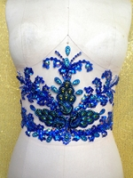 Deep Blue Hand Made Crystals Trim Patches Sew On Rhinestones Applique 43 19cm For Top Dress