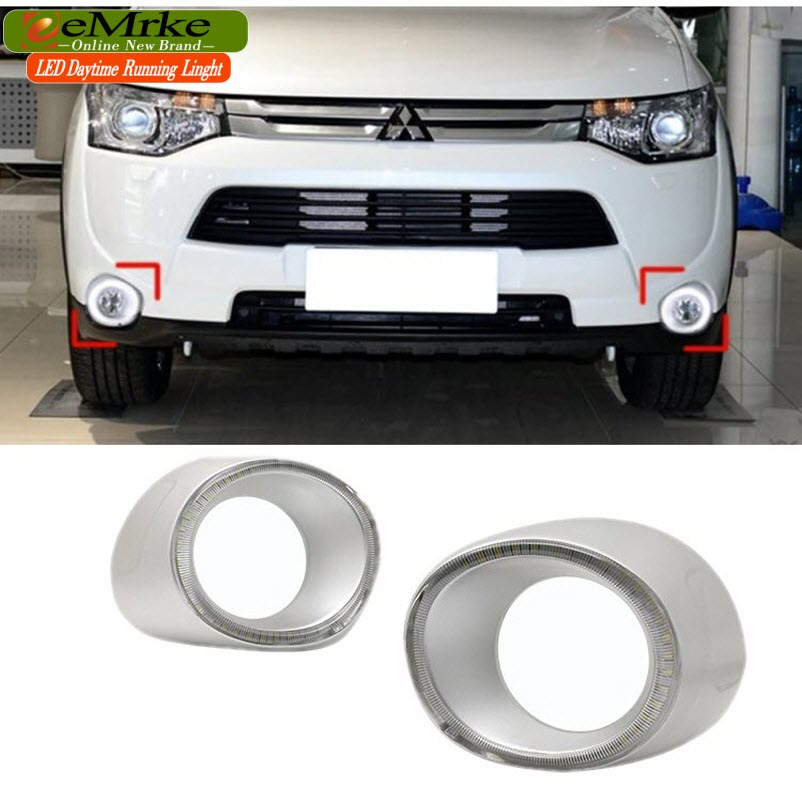 eeMrke Car LED DRL For Mitsubishi Outlander 2013 2014 Yellow Turn Signal Xenon White DRL Fog Cover Daytime Running Lights Kits power steering pump for for mitsubishi galant 2 0 2 4 2 5 96 04 mr403335 mr403137