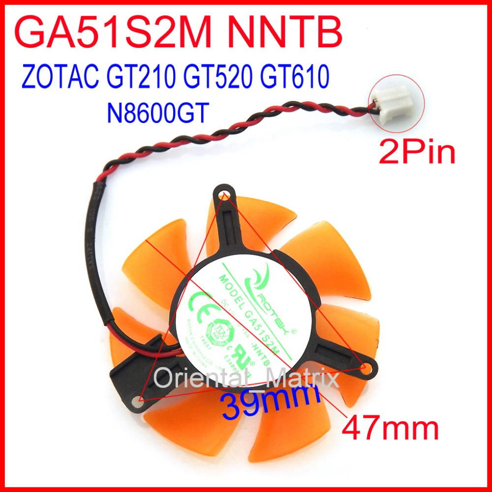 Free Shipping GA51S2M -NNTB 12V 0.15A 47mm 39*39*39mm 2Pin For ZOTAC N8600GT GT210 GT520 GT610 Graphics Card Fan
