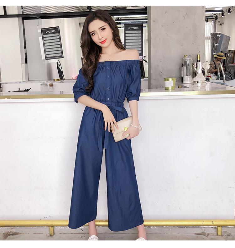 Wide Leg Denim Denim Jumpsuits Romper Off Shoulder Overalls for Women Blue Short Sleeve Female Streetwear 52