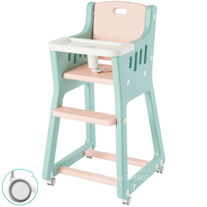 Chaise haute bébé légère avec 4 roues, siège de salle à manger lavable pour bébé avec housse de siège en cuir, chaise d'alimentation pour bébé coupée