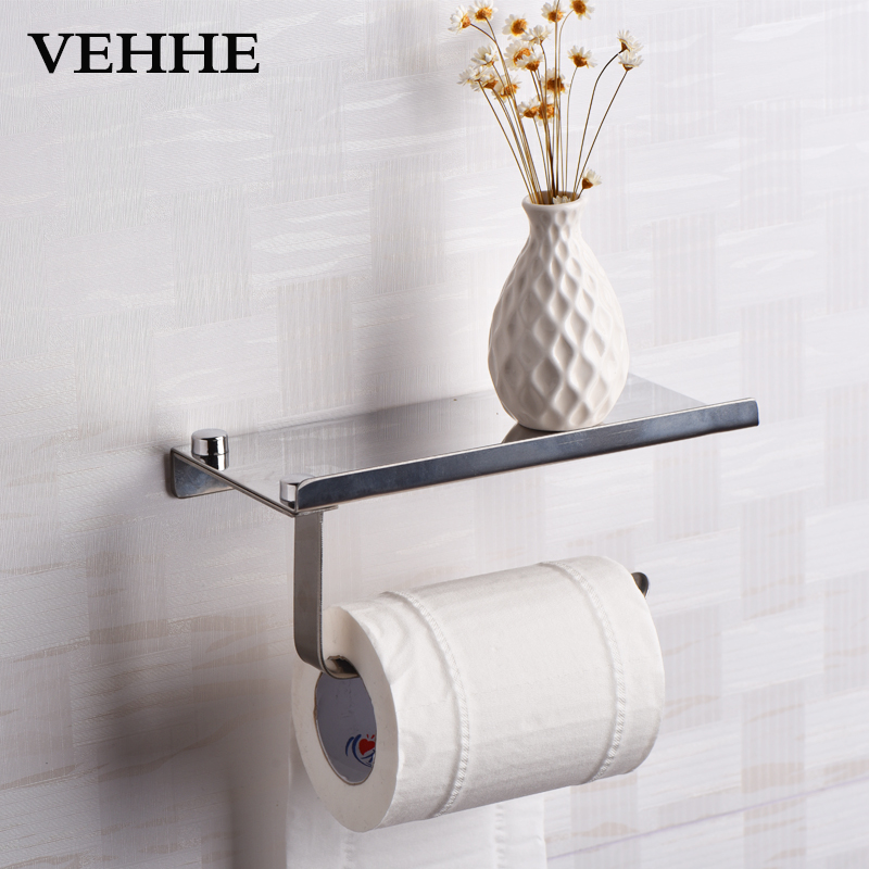 VEHHE Quality Bathroom Phone Holder Toilet Paper Holder Paper Shelf Bathroom Accessories Stainless Steel Paper Holder