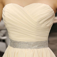 Suosikki Crystal Sash Sleeveless Chiffon Short Evening Dress