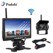 Podofo Wireless 7 Inch HD TFT LCD Vehicle Rear View Monitor Backup Camera Parking System With