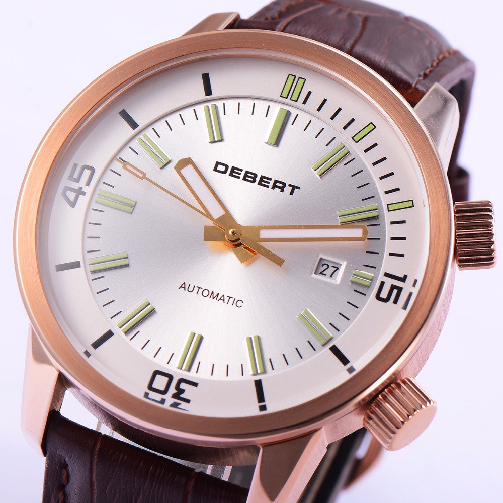 44.5mm DEBERT White Dial Leather Straps Rosegold Case
