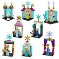 El más nuevo Castillo de Hielo Modelo de Regalo de Navidad Chica Mini Anna Elsa Snow Queen Kristoff Olaf Juguetes de Bloques de Construcción figuras Compatible con lego