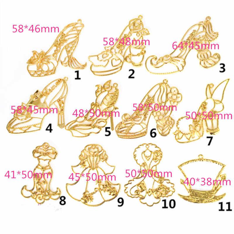 12 Chiếc Giày Công Chúa Mở Ốp Viền Khung Kim Loại Mặt Dây Chuyền Charm Vàng Viền Thiết Lập Cabochon Thiết Lập Nhựa Chống UV Quyến Rũ
