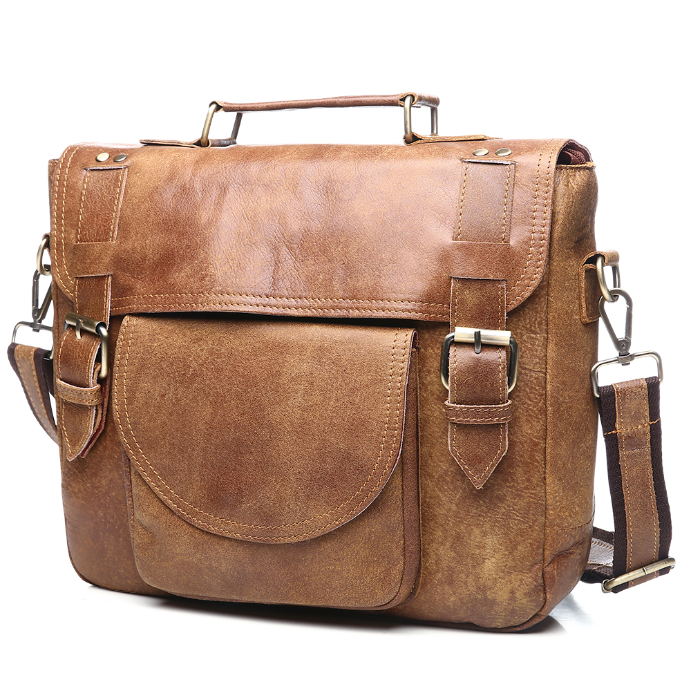 Vachette documents Homme Nouveau Véritable D'affaires Coffee oily À Color Océan Brown Sac Bluevin Bandoulière De Main Messenger Vintage En Cuir Porte 1cFKTlJ