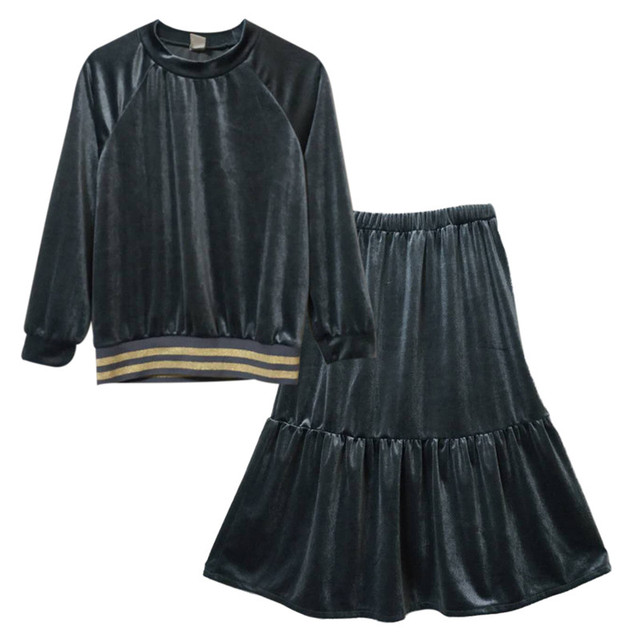 Fashionable Black Sweater and Skirt Set for Girls