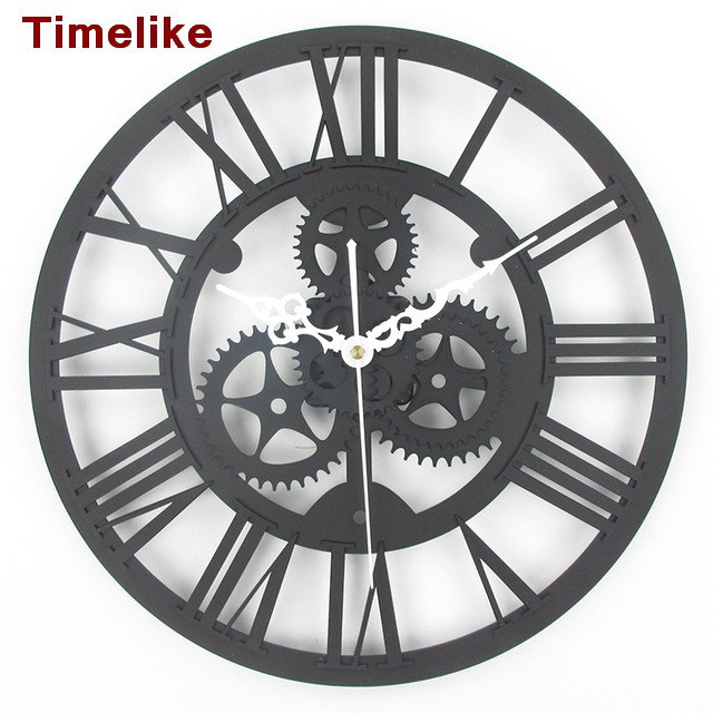 Vintage large size gear clock quartz  decorative wall watches12 inch European archaize gear wall clock living room clock