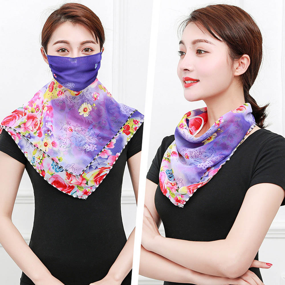 HanXi Summer Chiffon Face Protective Scarf Women Multifunction Ring Scarves For Lady Sport Travel Elegant Small Neck Scarf