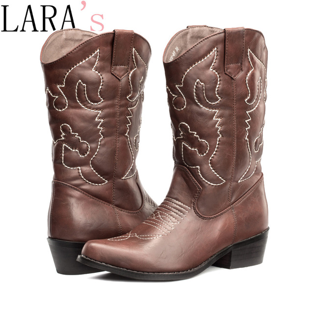 Black Brown Tan leather women cowboy boots low heel chunky mid ...
