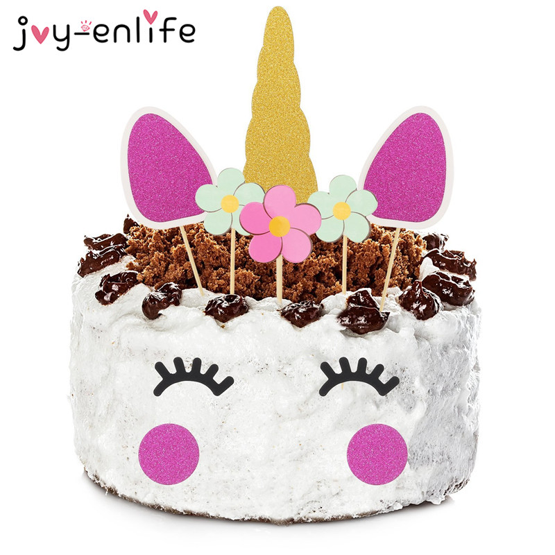 JOY-ENLIFE 1set Unicorn Cake Topper Baby Shower Birthday Party Decoration Children Kids Christmas Party Cake Decor Supplies