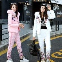 2017 New Winter Jacket Women Suit Thick Warm Slim Faux Fur Hooded Down Parka Coat Pants 2 Piece Set Female Outwear Parka Sets