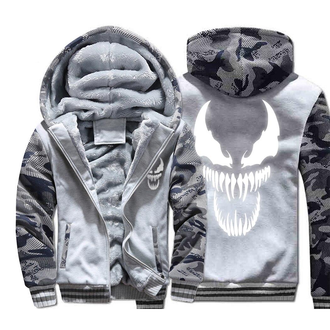 Image 4 - Venom Hoodies Men Movie Night Glow Hooded Sweatshirts Harajuku Coat Winter Thick Fleece Jacket Cool Noctilucent Streetwear-in Jackets from Men's Clothing
