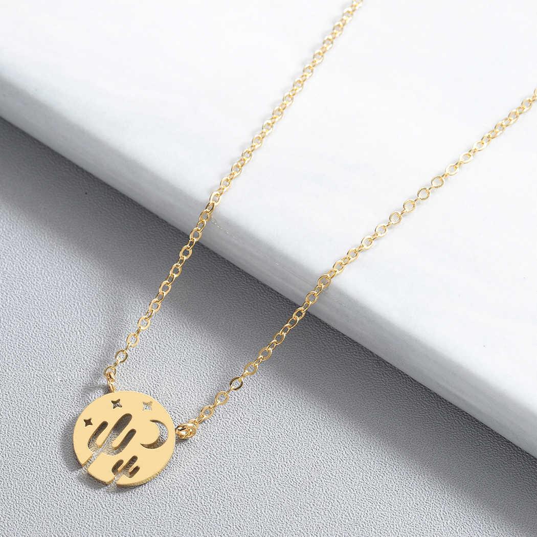 Крошечное кактус полумесяц ожерелье с Луной и звездой женское винтажное эффектное классическое дизайнерское дропшиппинг девушки ожерелье s Подвески подарок