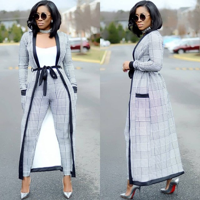 Women 2018 Fashion 2 Piece Set Plaid Long Trench Cardigan and Bodycon Pants Suit Casual Sashes Clothes Summer Two Piece Outfits