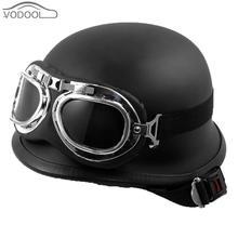 Vintage German Style Unisex Motorcycle Helmet Black Motocross Half Capacetes de Motociclista w/ Goggles Casco Moto for Scooter