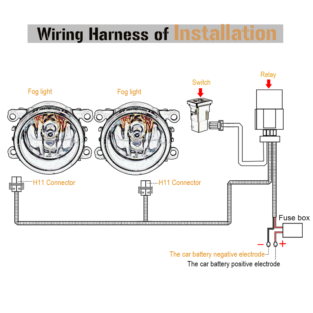 hight resolution of buildreamen2 car h11 fog light wiring harness kit with 40a 12v on off switch relay fuse for ford dacia peugeot citroen renault in wire from automobiles