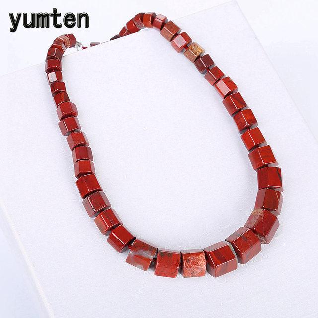 Yumten czerwony jaspis duży naszyjnik krótkie kobiety Kolye moda mężczyźni Reiki leczyć naturalne kamień kryształ biżuteria akcesoria do prezentów hurtownia