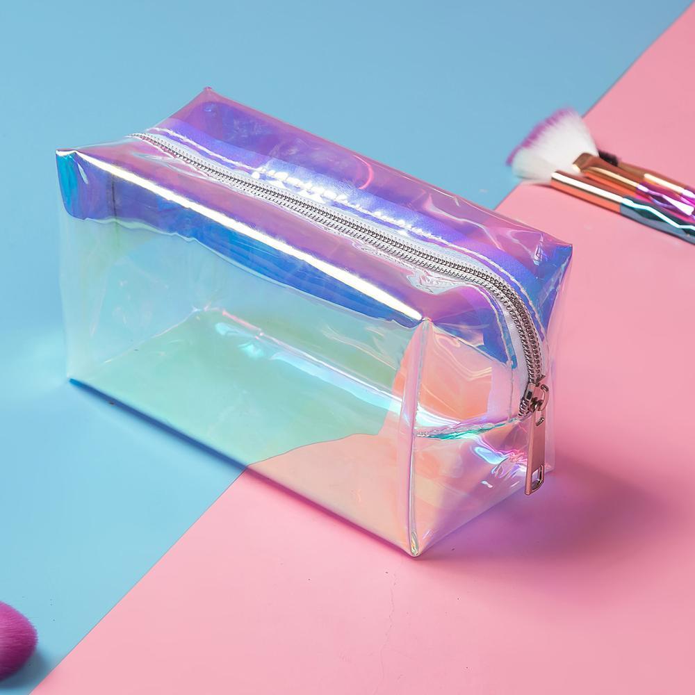 Fashion PVC Design Women Cosmetic Bag Laser Makeup Case Transparent Beauty Organizer Pouch Female Jelly Bag Clear Pouch