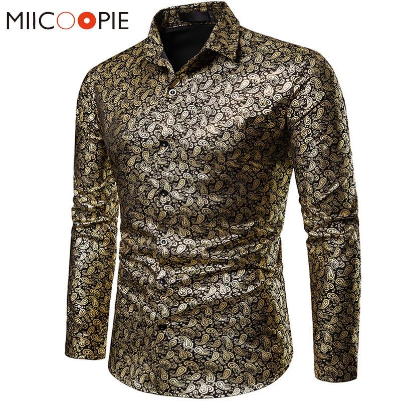 New Gold Bronzing Camisa Social Shirts Men Dress Slim Fit 2019 Brand Long Sleeve Night Club Wear Floral Shirt For Men Streetwear