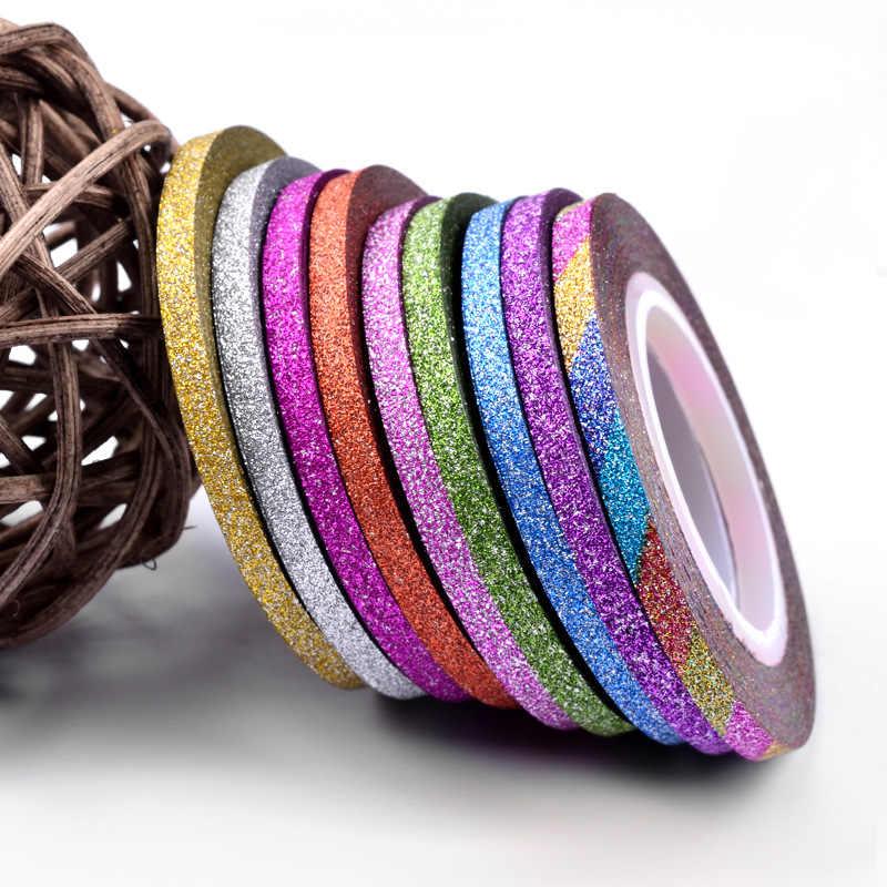 ใหม่ 1Mm 12 สีเล็บGlitter Stripingเทปชุดสติกเกอร์ศิลปะตกแต่งDIYเคล็ดลับสำหรับเล็บเจลrhinestones Decorat