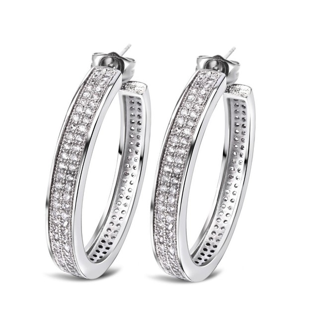 Brand earrings for women Real gold plated with Cubic zirconia stone Hoop Earrings big circle earrings
