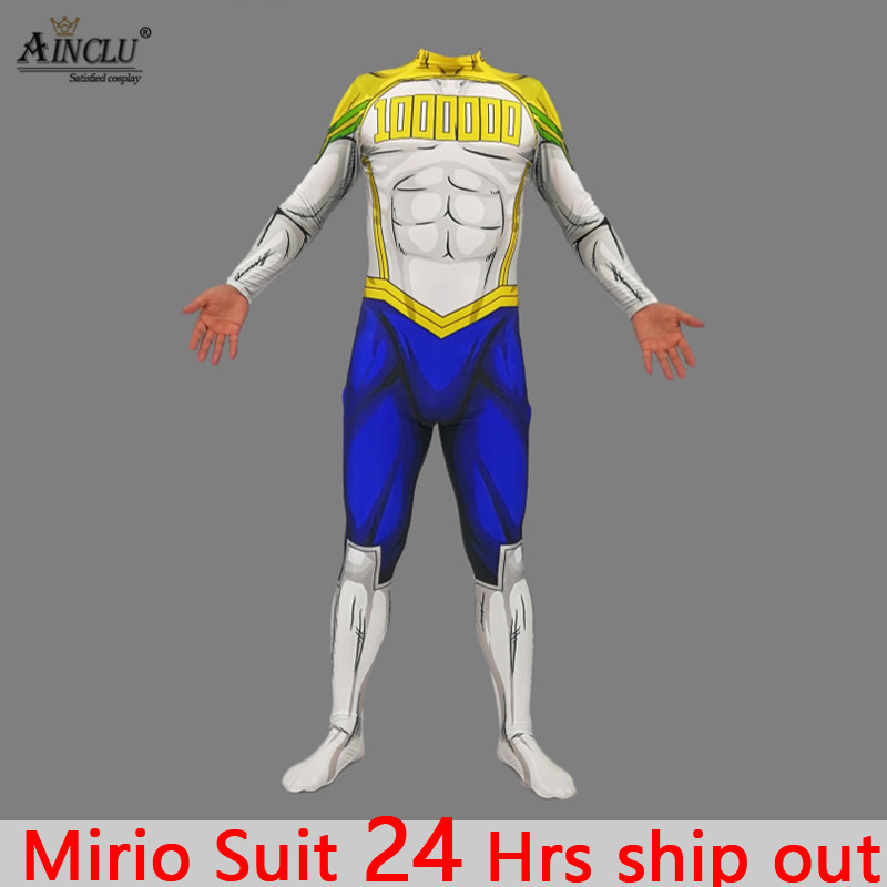Ainclu 24 hrs Ship Out Kids Men My Hero Academia <font><b>Mirio</b></font> <font><b>Cosplay</b></font> Costumes Spandex Zentai Bodysuits Jumpsuits Free shipping image