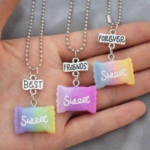 Кулон из смолы с плавным изменением цвета, ожерелье с конфетами и сахаром, для детей, BFF 3, лучшие друзья, Forever, ювелирные изделия, подарки для д...