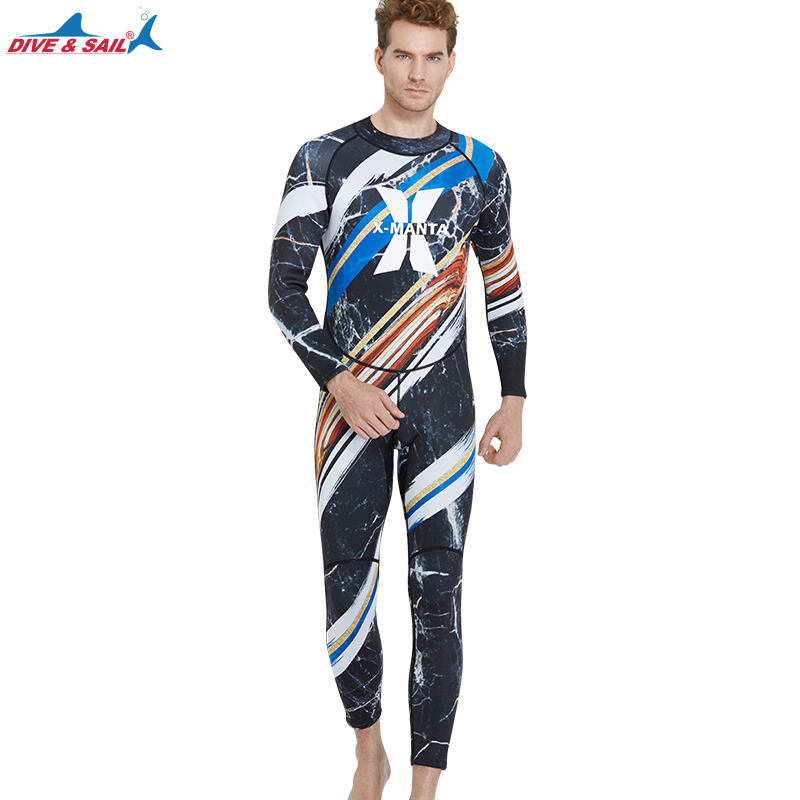 DIVE&SAIL Warm 1.5MM Neoprene Diving Suit For Men Winter Swimming Rowing Sailing Surfing Spearfishing Wetsuit Men Surf Wetsuits spearfishing wetsuit 3mm neoprene scuba diving suit snorkeling suit triathlon waterproof keep warm anti uv fishing surf wetsuits