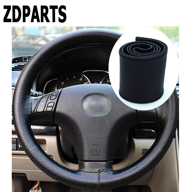 ZDPARTS 38CM Leather Automobiles Car Steering Wheel Covers For Toyota Corolla Avensis Rav4 c-hr VW Passat B6 B5 Polo Jetta hub