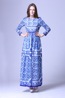 2015 Spring Summer China Style Long Sleeve Dress Woman Blue Color Long Dress S XL Size
