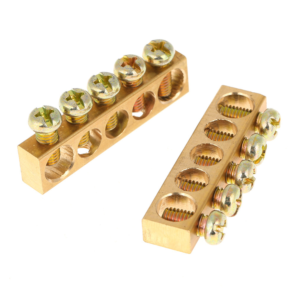 10pcs 10 Hole Electrical Terminal Block Bar Distribution Wire Screw Wiring 5 Connector Strip Brass Ground Neutral
