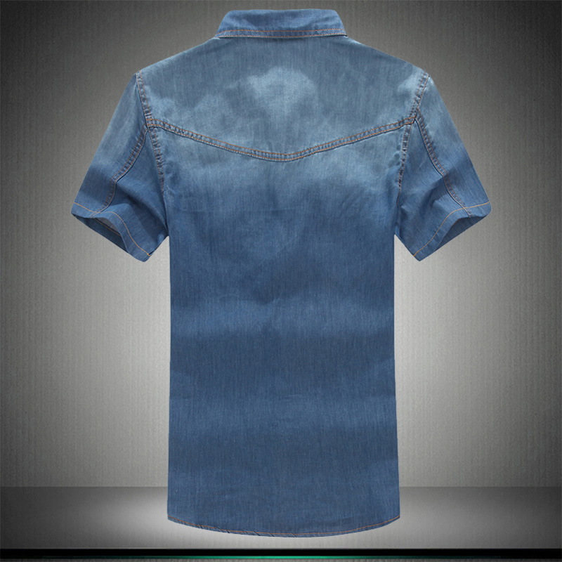 Image 2 - Plus Asian Size L 5XL 6XL 7XL 8XL 100% Denim COTTON Shirt For Men Short Sleeves 2019 Summer Style Fashion Casual Clothing-in Short Sleeve Shirts from Men's Clothing