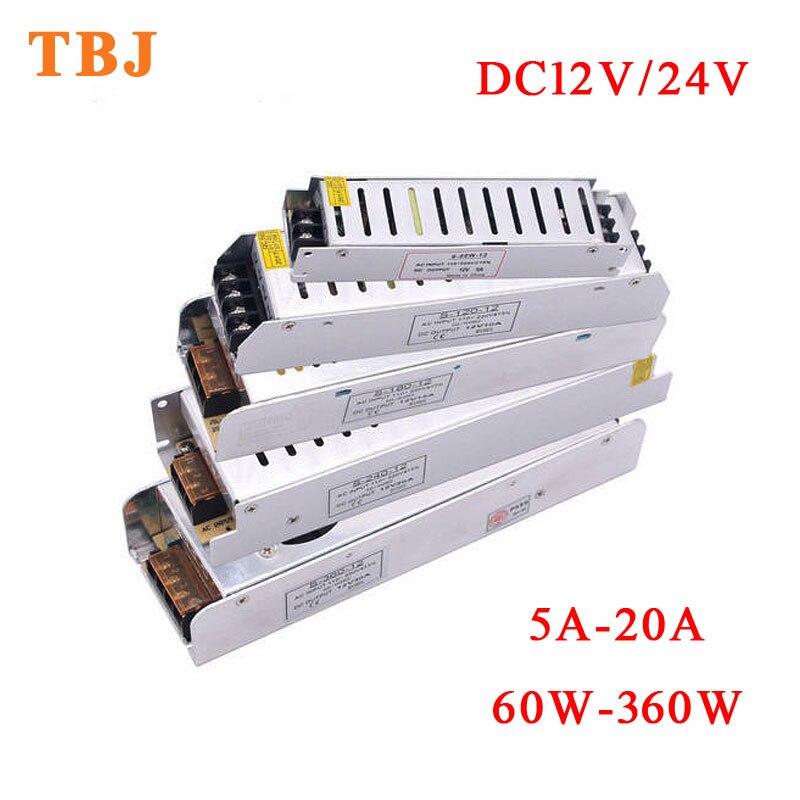 AC 110 V-220 V À DC 12V 24V LED Transformateur D'éclairage 5A 8A 10A 20A 30A 60W 72W 100W 150W 200W 250W 300W 360W alimentation LED d'approvisionnement