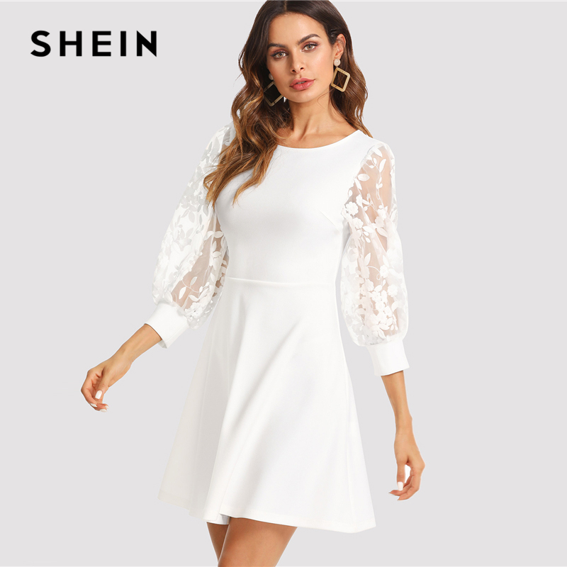 e1cf4613bbb2d SHEIN Embroidered Mesh Bishop Sleeve Fit   Flare Dress 2018 Summer Round  Neck Fashion White Dress Women Elegant Embroidery Dress-in Dresses from  Women s ...