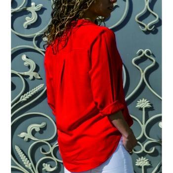 Soild Women Shirt 2019 Spring Autumn Casual Chiffon Blouse Long Sleeve Deep V Neck Button Office Work Wears Top Plus Size S-XXXL 5